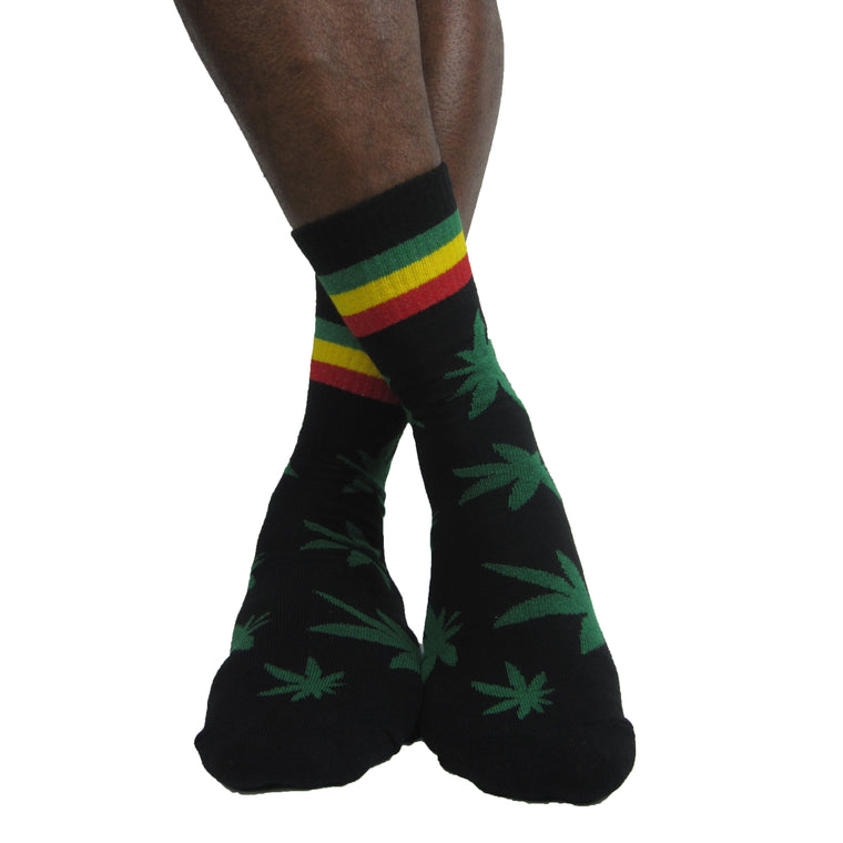 Luv Socks Men's Cotton Cannabis Print Ankle Socks