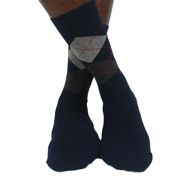 Men's Cotton Blend Dark Argyle Ankle Socks - Leggsbeautiful