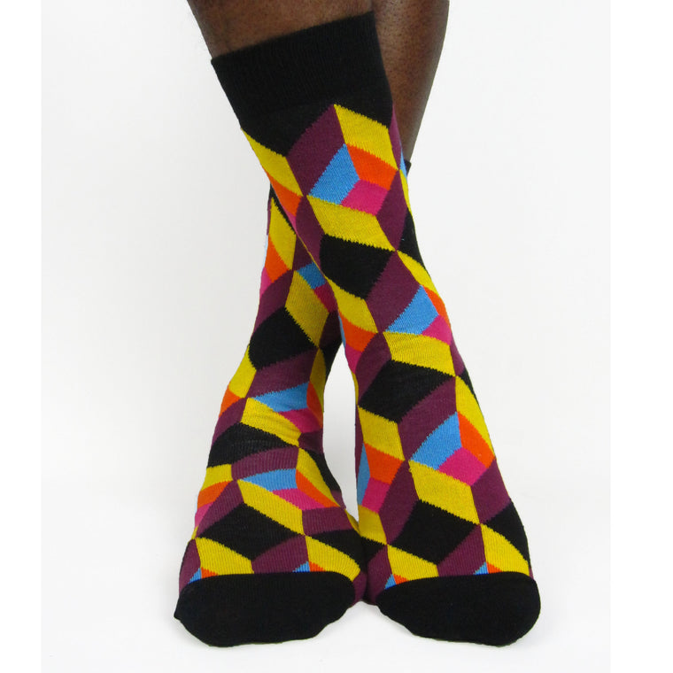 Luv Socks Men's Cotton Blend Geometric Ankle Socks