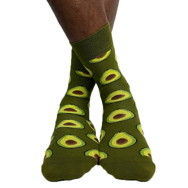Luv Socks Men's Cotton Blend Avocado Print Ankle Socks