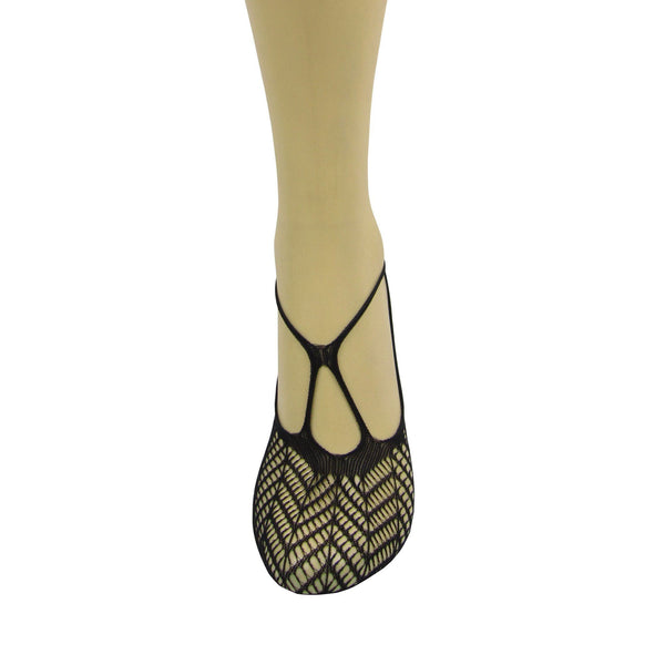 Veneziana Cross Front Net Footsie - Leggsbeautiful