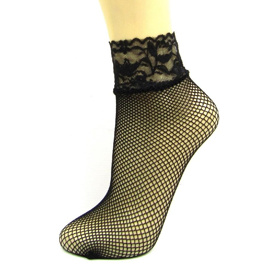 Leggsbeautiful Fishnet Lace Top Ankle Socks - Leggsbeautiful
