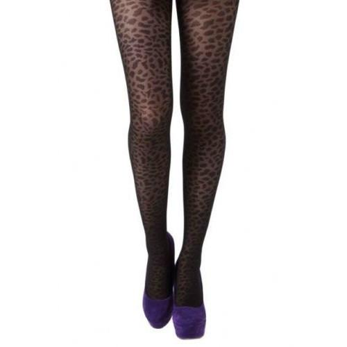 Leggsbeautiful Knitted Leopard Print Semi Sheer Tights - Leggsbeautiful