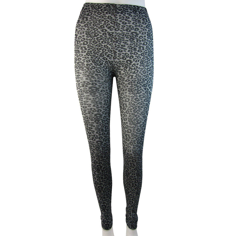 Knitted Leopard Print Fleece Lined Footless Tights, Small