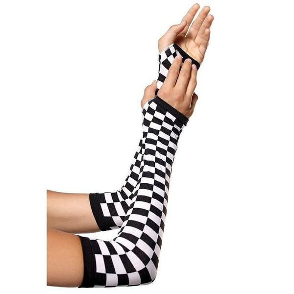 Leg Avenue Check Pattern Fingerless Gloves Sleeve - Leggsbeautiful