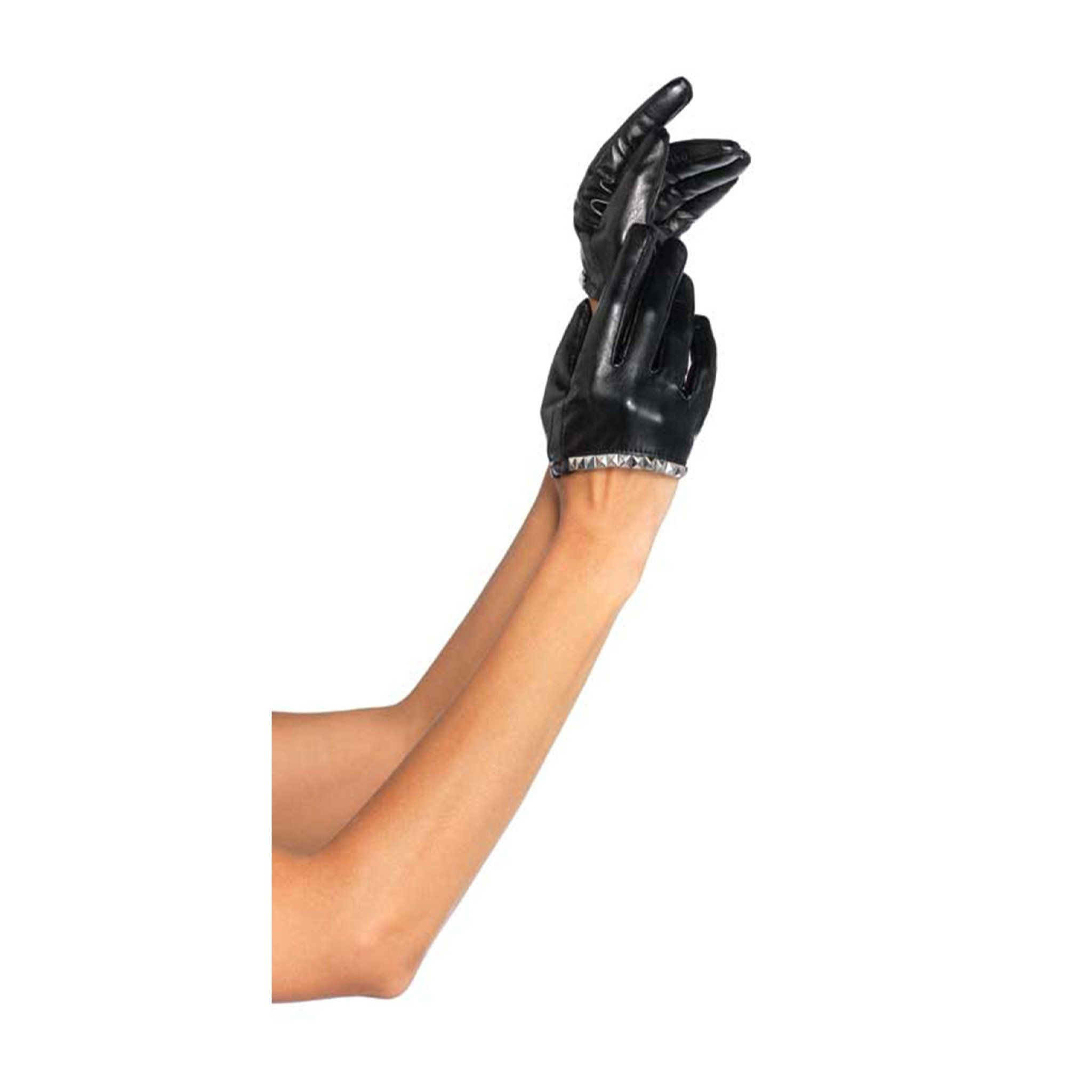 Leg Avenue Faux Leather Cropped Gloves With Studs - Leggsbeautiful