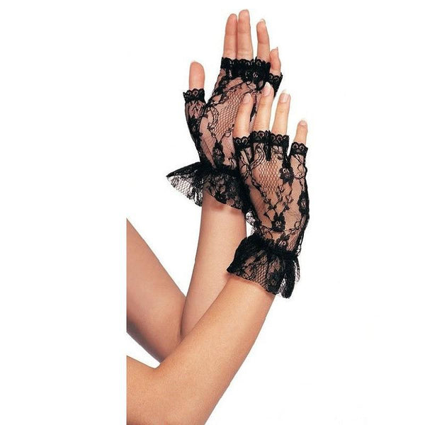 Leg Avenue Fingerless Lace Bridal Gloves With Frill - Leggsbeautiful