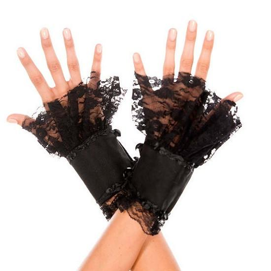 Music Legs Fingerless Lace Net Gauntlet Cuffs