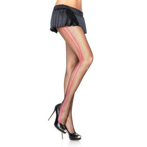 Leg Avenue Fishnet Tights With Contrast Double Side Seam - Leggsbeautiful