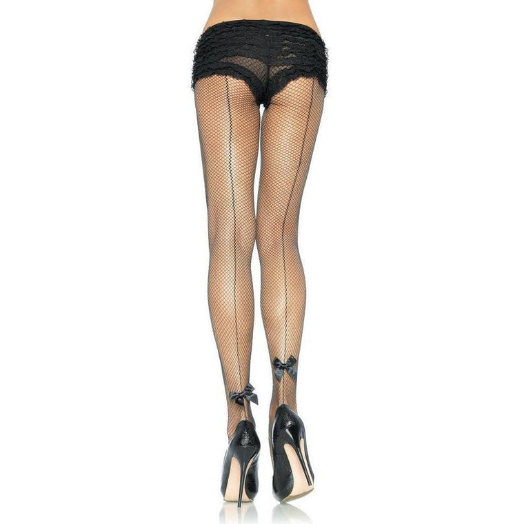 Leg Avenue Baskseam Fishnet Tights With Satin Bow