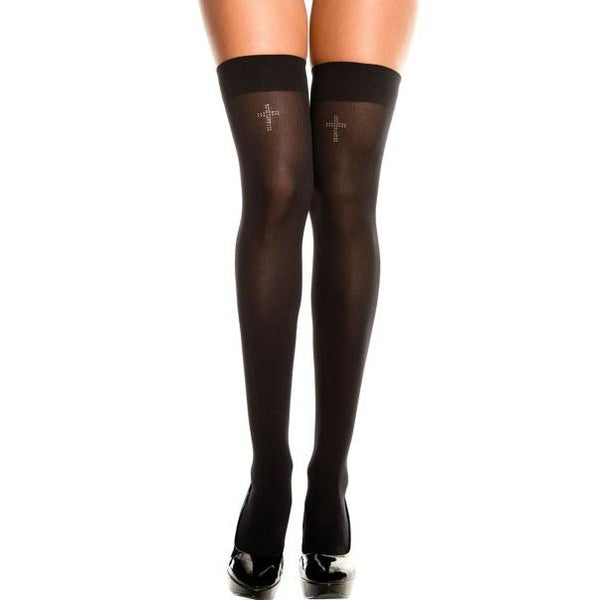 Leg Avenue Opaque Thigh Highs With Rhinestone Crosses - Leggsbeautiful