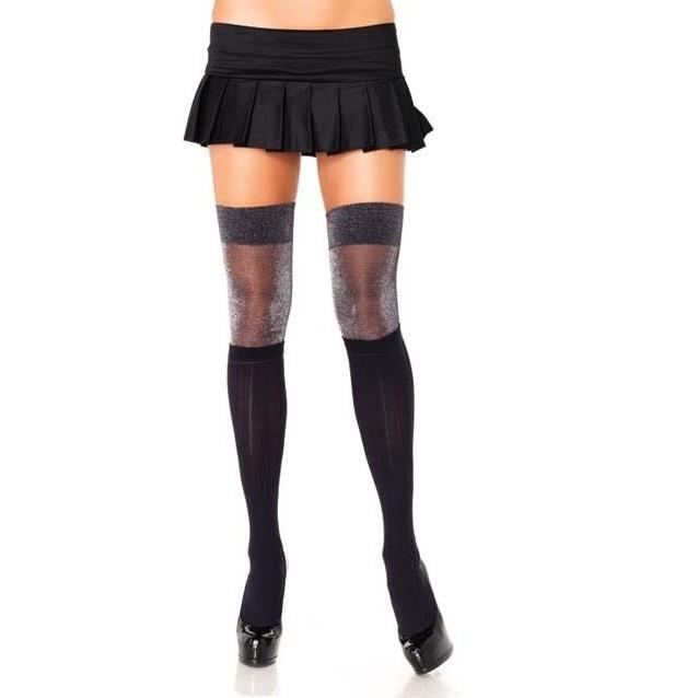 Leg Avenue Ribbed Lurex Thigh Highs