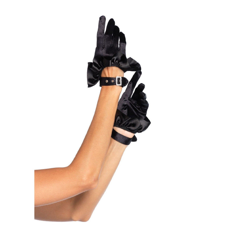 Leg Avenue Satin Driving Gloves With Ruffle Trim & Buckle