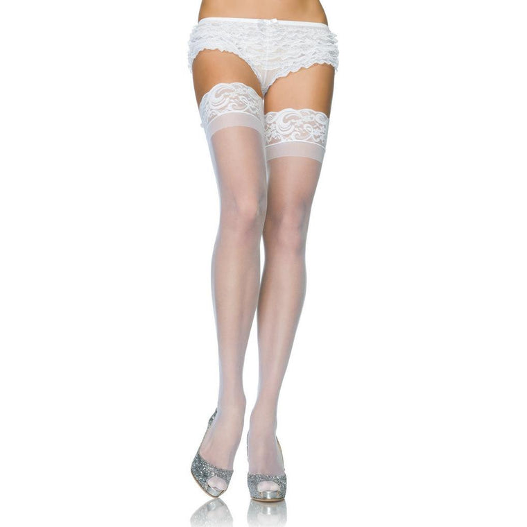Leg Avenue Sheer Lace Top Hold Ups