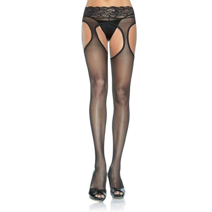 Leg Avenue Sheer Suspender Tights With Lace Waist - Leggsbeautiful