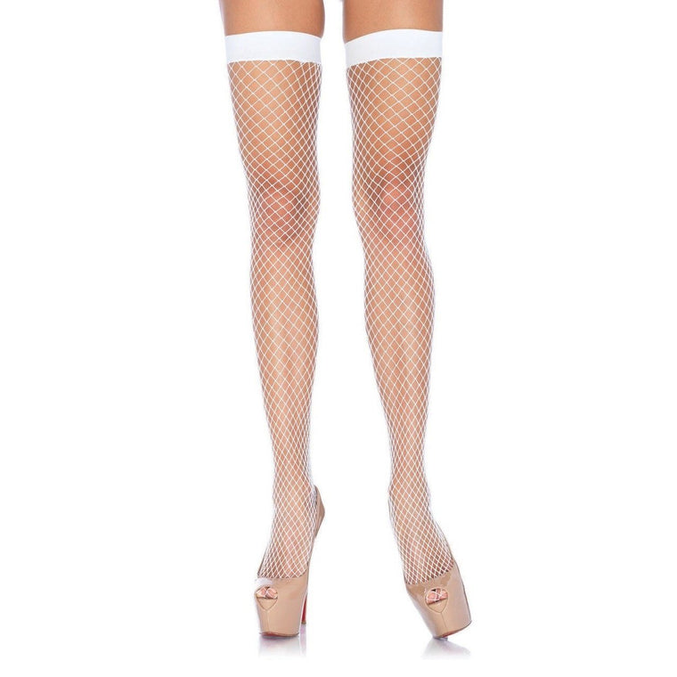 Legs Avenue Plain Top Industrial Net Thigh Highs