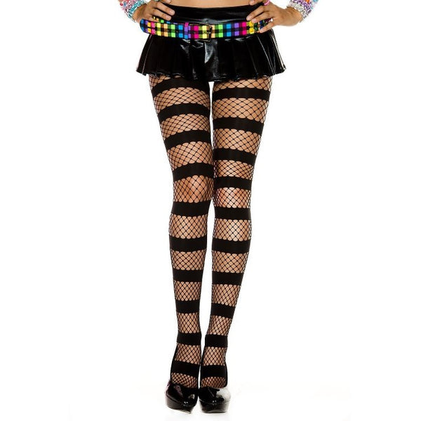 Music Legs Horizontal Stripe & Fishnet Tights - Leggsbeautiful