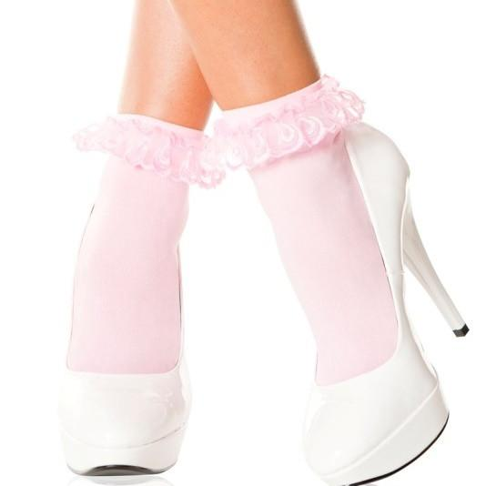 Music Legs Opaque Frill Top Ankle Socks - Leggsbeautiful