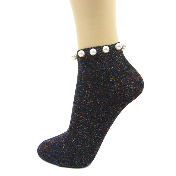 Glitter Ankle Socks With Pearl Cuff|Fashion Socks - Leggsbeautiful