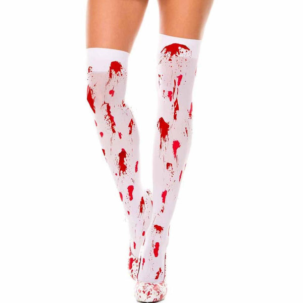 Music Legs Nylon Blood Stained Thigh Highs - Leggsbeautiful