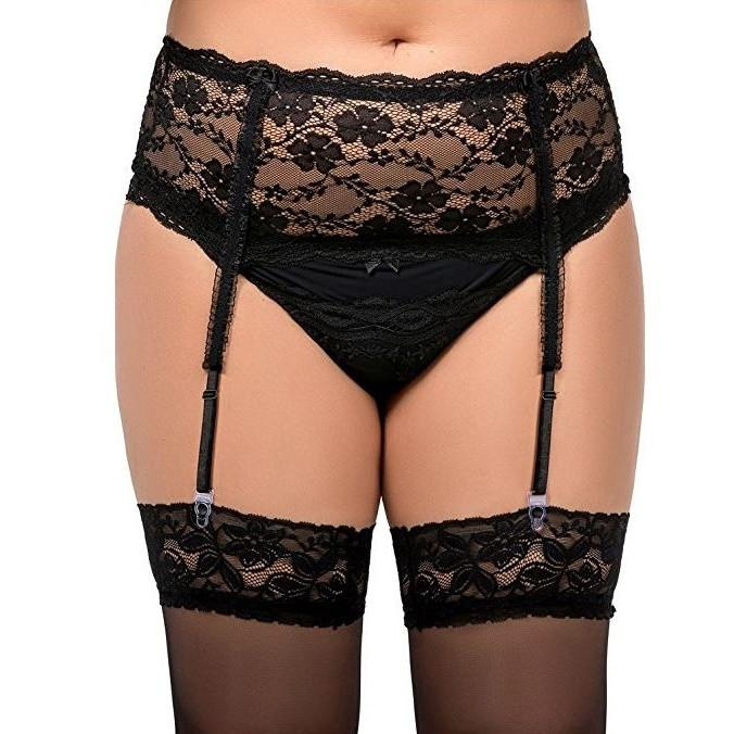 Nine X Plus Size Deep Lace Suspender Belt With Corset Back