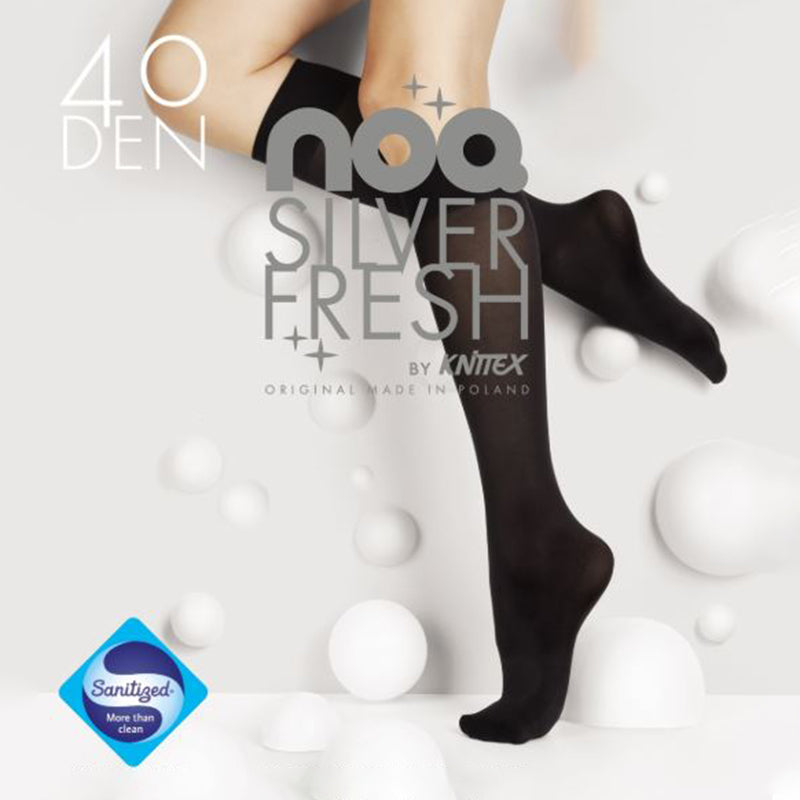 NOQ by Knittex Silver Fresh 40 Denier Knee High Socks - Leggsbeautiful