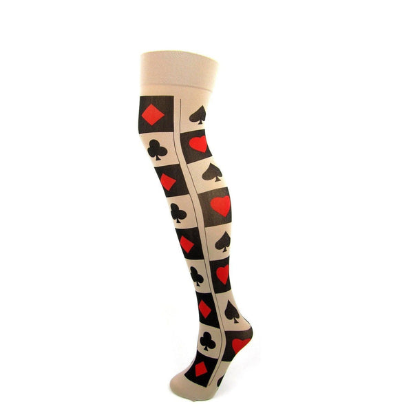 Nylon Playing Card Pattern Thigh High Socks - Leggsbeautiful