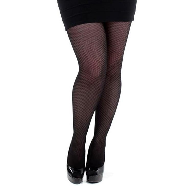 Pamela Mann Plus Size Small Diamond Patterned Tights - Leggsbeautiful