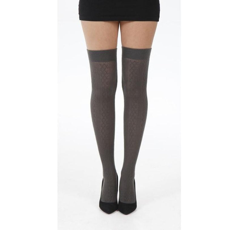 Pamela Mann Soft Acrylic Cable Knit Over The Knee Socks