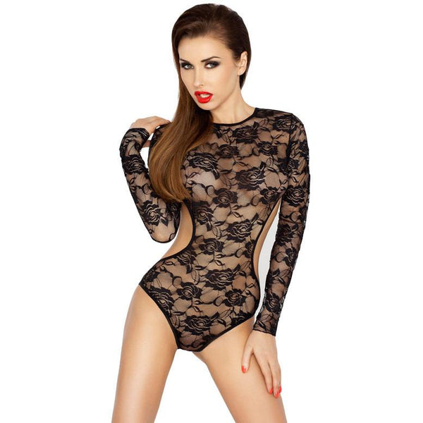 Passion Yolanda Stretch Cut Out Lace Body - Leggsbeautiful