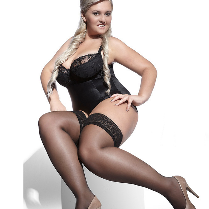Adrian Bella 15 Denier Plus Size Lace Top Hold Ups
