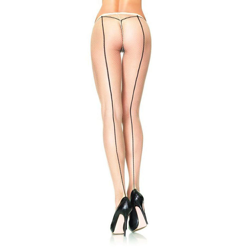 Classic Contrast Back Seam Fishnet Tights - Leggsbeautiful