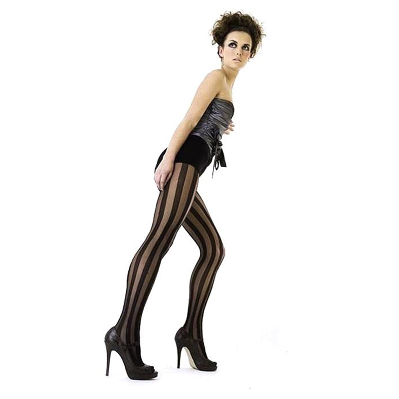 Rio Sheer Vertical Contrast Stripe Tights