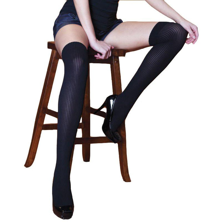Silky Nylon Ribbed Over The Knee Socks Boot Socks