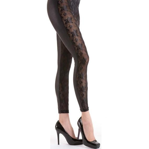 Silky Sheer Floral Front Leggings