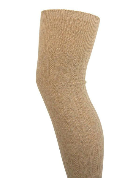 Soft Wool Blend Cable Knit Over The Knee Boot Socks - Leggsbeautiful