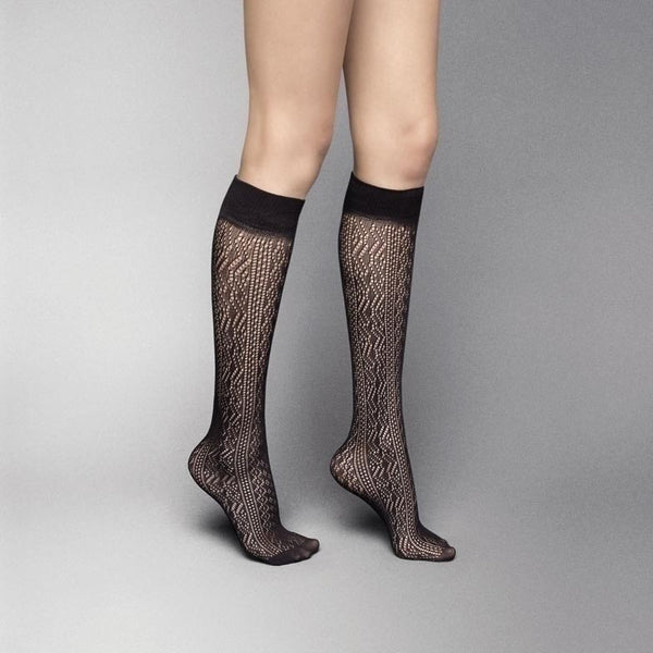 Veneziana Patterned Open Knit Knee High Socks