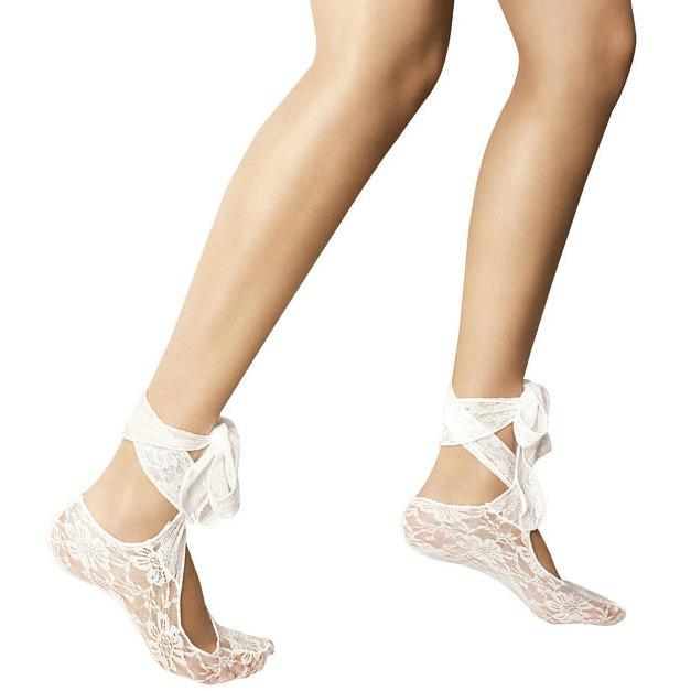 Veneziana Lace Floral Footsies With Ankle Tie