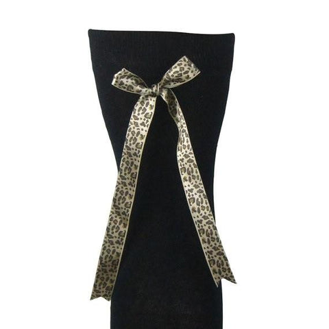 Cotton Blend Over The Knee Boot Socks With Leopard Bow - Leggsbeautiful