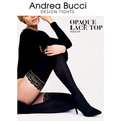 Andrea Bucci 50 Denier Lace Top Opaque Hold Ups - Leggsbeautiful