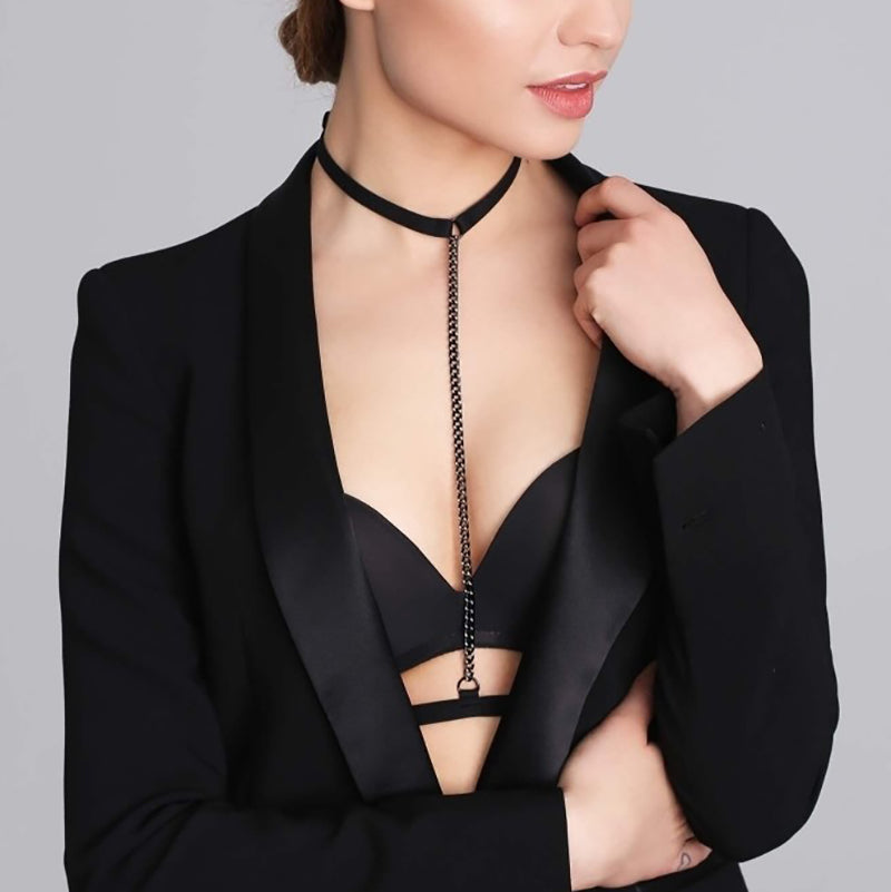Promees Alice Chain Choker With Body Strap - Leggsbeautiful