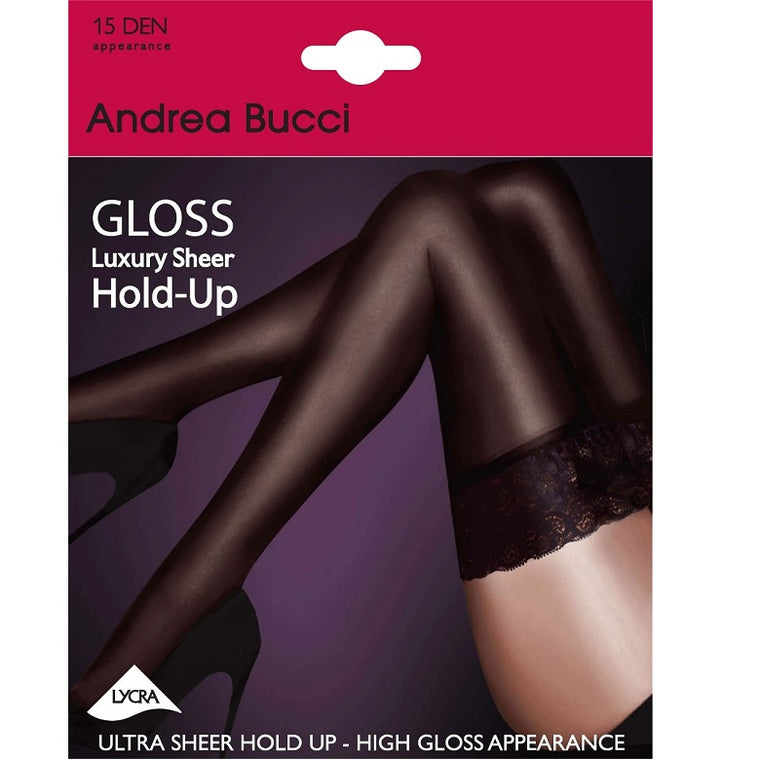 ANDREA BUCCI 15 Denier GLOSS LUXURY LACE TOP HOLD UPS