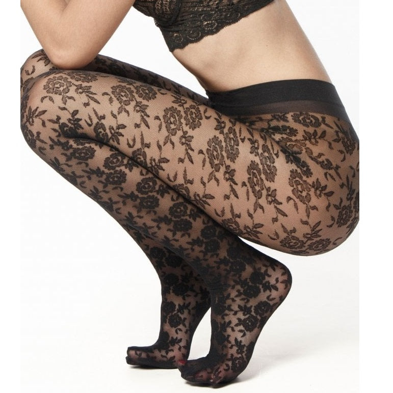 Andrea Bucci Sheer Floral Design Tights - Leggsbeautiful