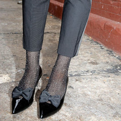 Scarlet Lurex Fishnet Ankle Socks - Leggsbeautiful