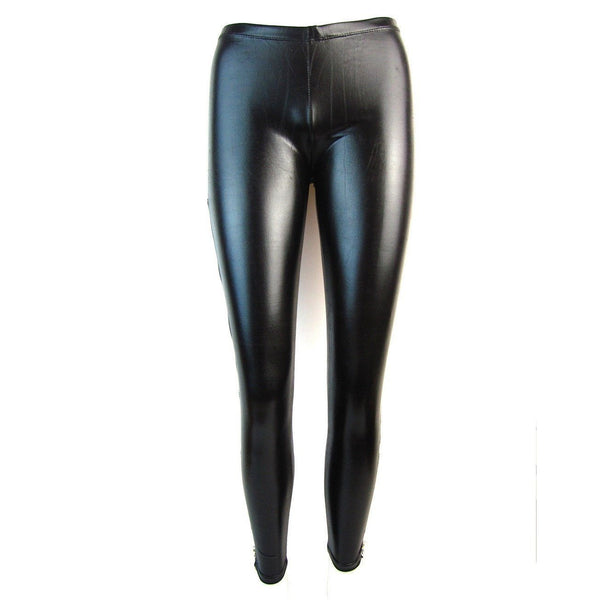 Wet Look Leggings With Long Side Zip - Leggsbeautiful