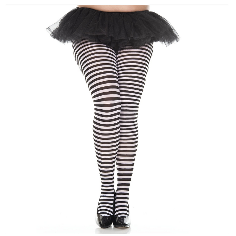 Leg Avenue Plus Size Striped Ringer Tights