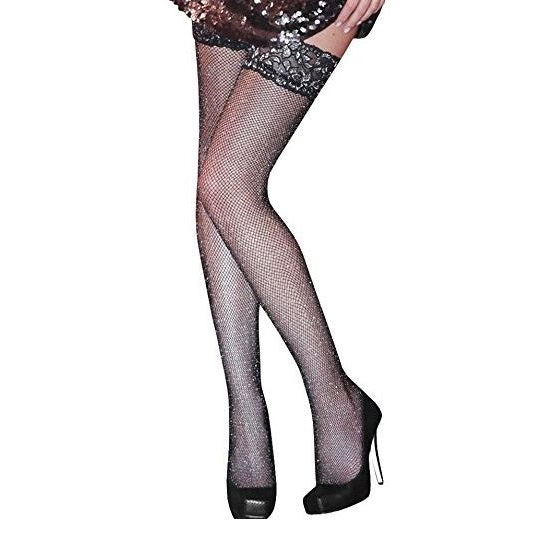 Silky Lurex Fishnet Can Can Hold Ups - Leggsbeautiful