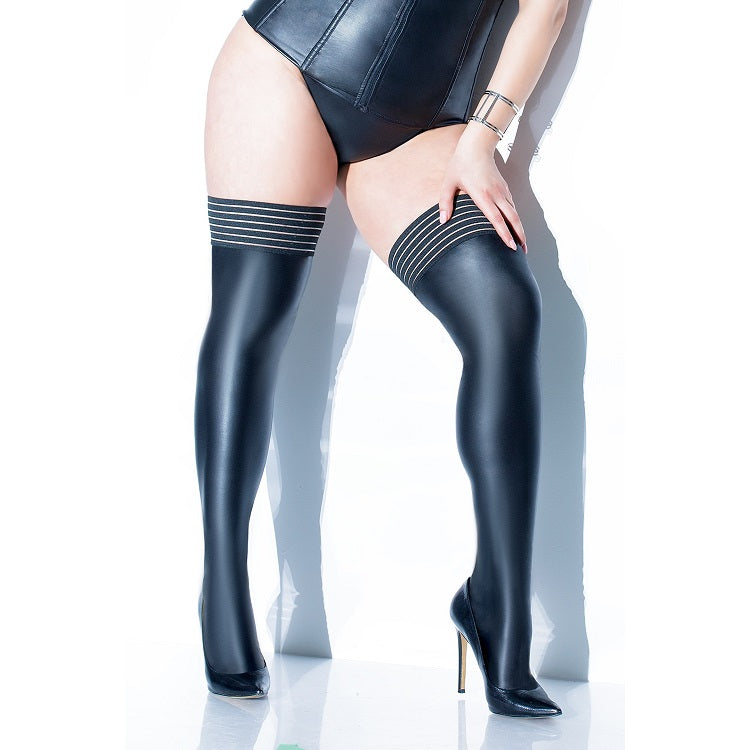 Coquette Plus Size Stripe Top Matte Wet Look Thigh Highs