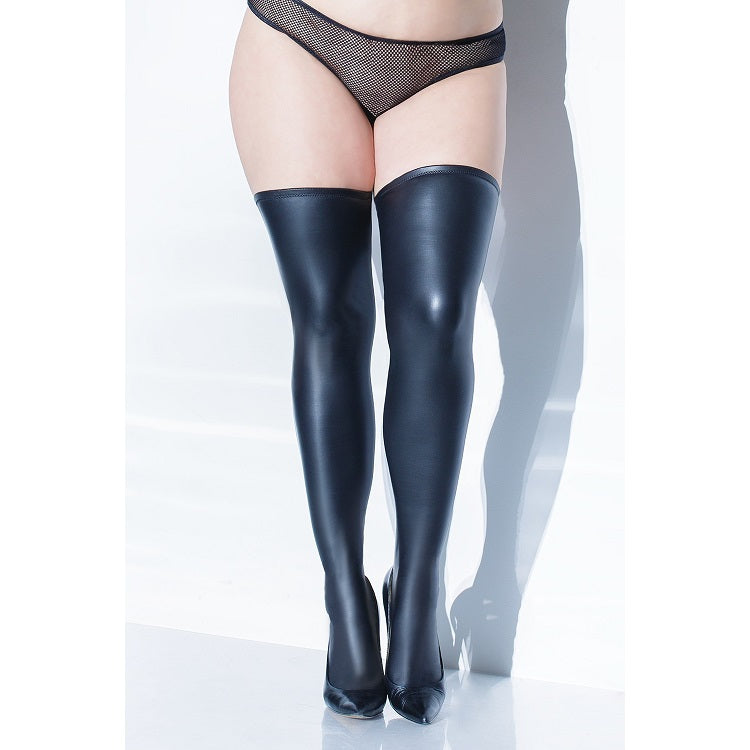 Coquette Plus Size Matte Wet Look Thigh Highs