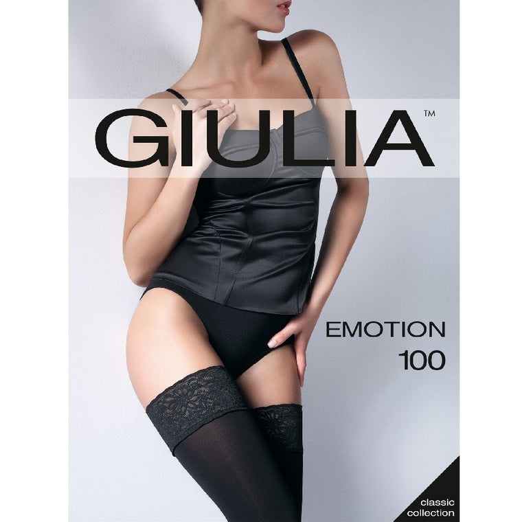 Giulia Emotion 100 Denier Lace Top Opaque Hold Ups